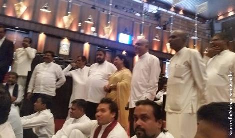 Sri Lanka's UPFA MP's parliament protest end