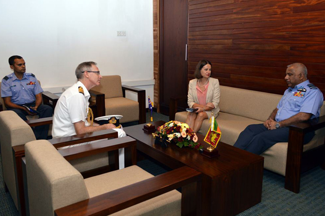 Robyn Mudie, Captain Jason Sears and Chief of Defence Staff Air Chief Marshal Kolitha Gunatilleke discussing ongoing cooperation between Australia and Sri Lanka.