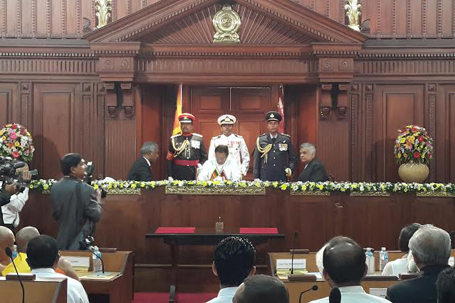 New Prime Minister swore into office at the Presidential Secretariat a while ago.