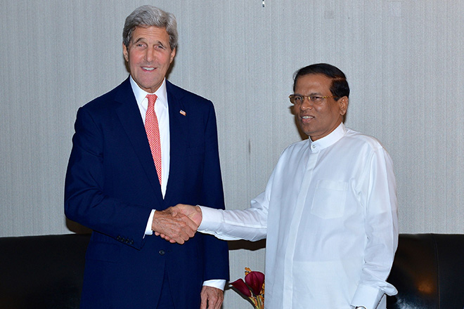US supports domestic process for justice, Kerry pledges to Sirisena