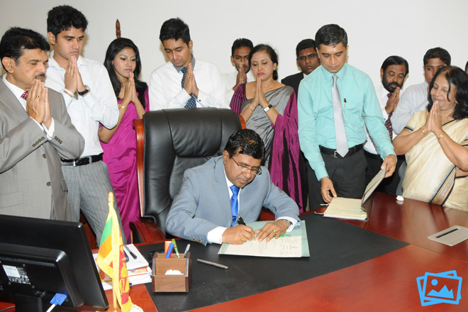 Wijedasa Rajapakshe assuming duties at Ministry of Justice