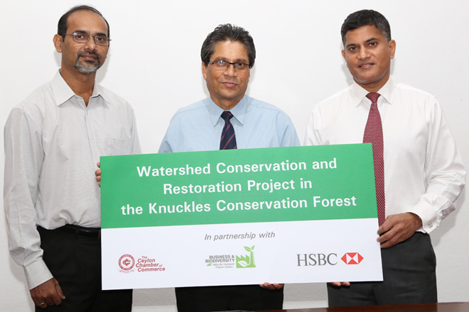 from L to R: Shamen Vidanage – Programme Coordinator, IUCN Sri Lanka, Mangala P. B. Yapa – Secretary General/CEO, Ceylon Chamber of Commerce (on behalf of the Sri Lanka Business and Biodiversity Platform) and Sriyan Cooray – Chief Operating Officer Sri Lanka and Maldives, HSBC Sri Lanka and Maldives