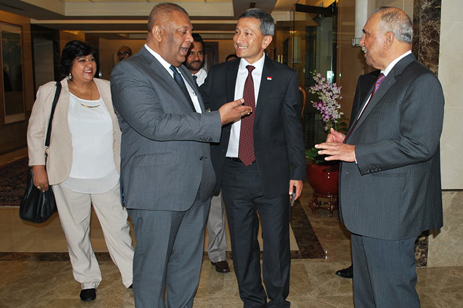 FM Mangala Meets Singapore's Foreign Minister in Singapore