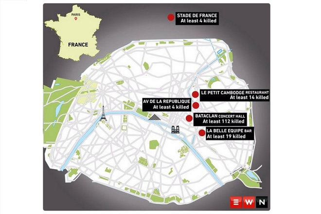 paris attacks map