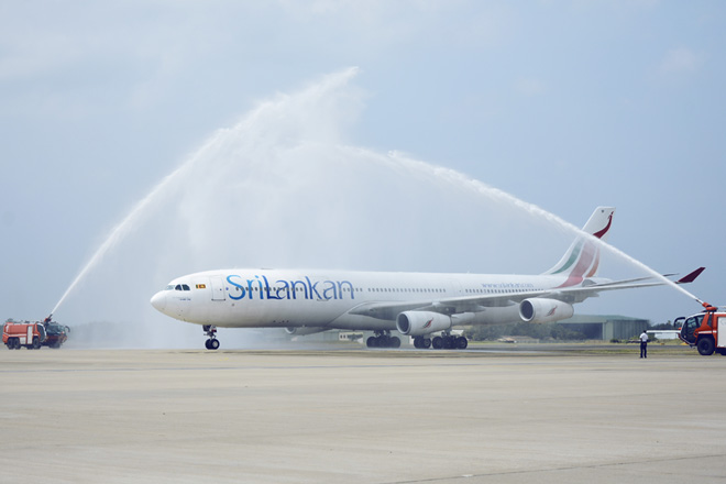 1.The Aircraft being greeted with a water cannon salute after its last commercial flight from Chennai to Colombo