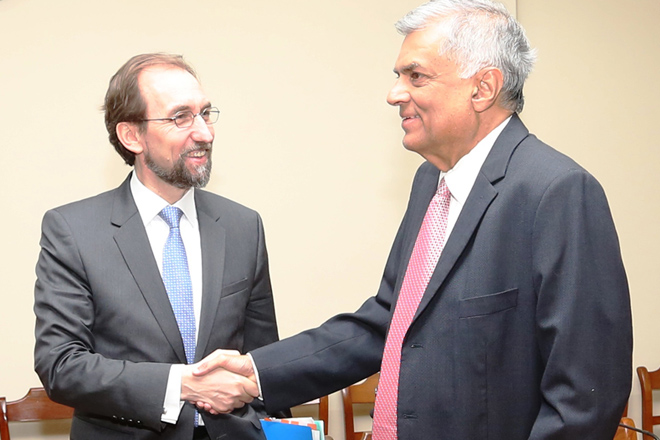 Prince Zeid Al Hussein meets Prime Minister Ranil Wickramasinghe
