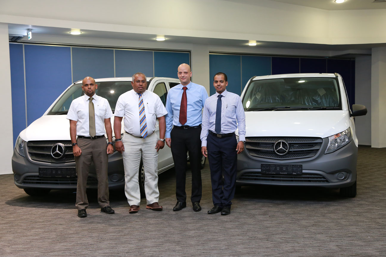 1.From Left: Mercedes-Benz Commercial Vehicles Sales Manager Shamal Fernando, DIMO Group CEO Gahanath Pandithage, Daimler South East Asia Regional Sales Manager Vans and General Distributor Markets Thomas Berner and Mercedes-Benz, Chrysler & Jeep Sales General Manager Rajeev Pandithage introducing the all new Vito Mercedes-Benz Van