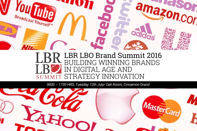 """LBR LBO Brand Summit 2016 – """"Building Winning Brands in the Digital Age and Strategy Innovation"""" – Tuesday 12th July 2016"""