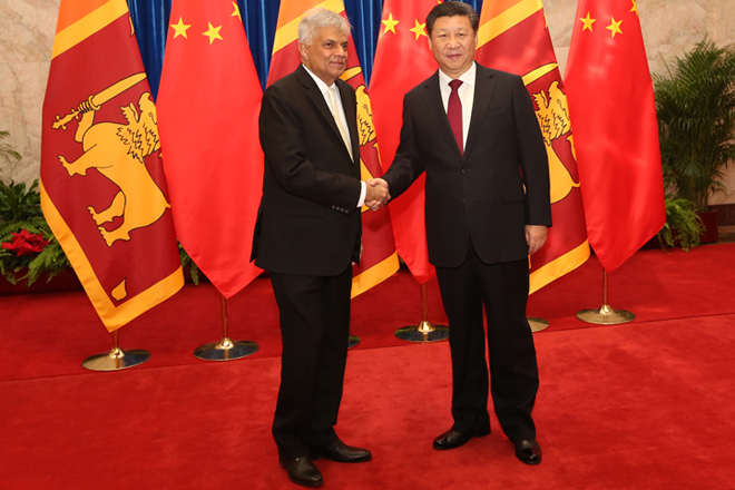 Sri Lanka's Premier warmly welcomed by Chinese President