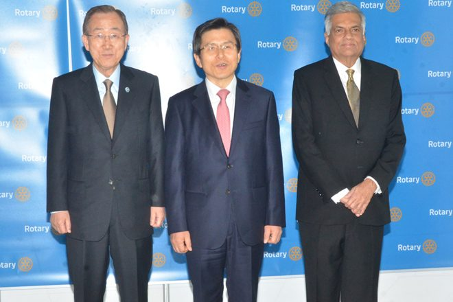 Sri Lanka's PM meets S. Korea PM and UN Sec. Gen. at Rotary conference
