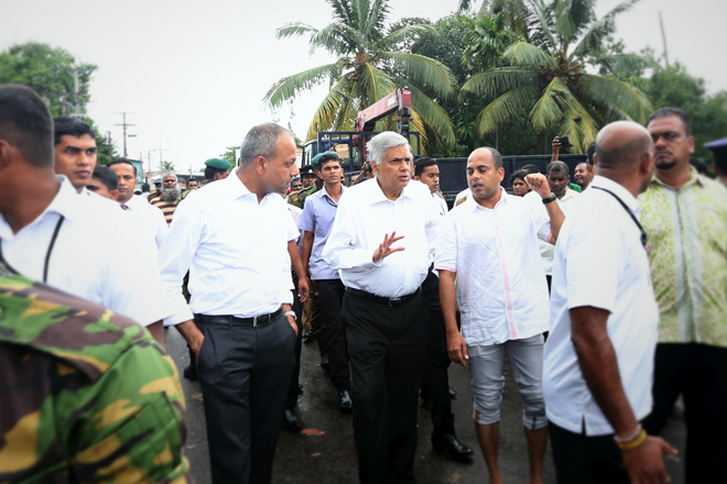Sri Lanka's Prime Minister visits flood-hit Wellampitiya area