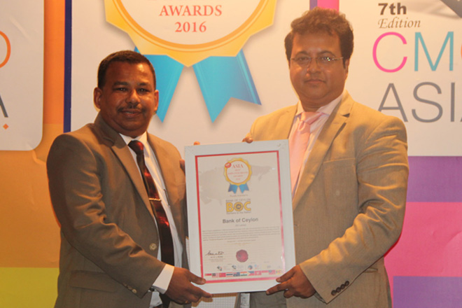 Asia Best Employer Brand 2016 conferred on Bank of Ceylon