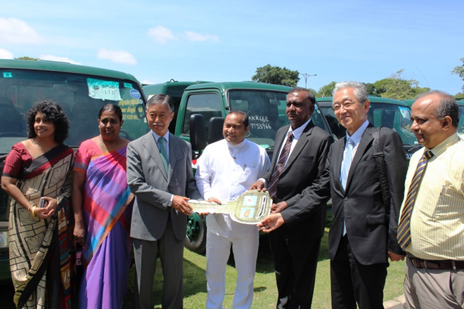 Japan hands over 12 waste collection trucks to Colombo Municipal Council