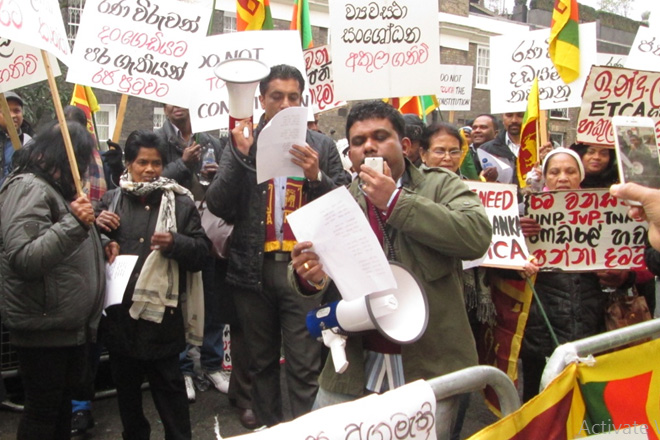 Group of Sri Lankans in UK protest against proposed constitution