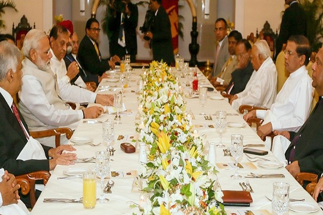 Sri Lanka President hosts visiting Indian PM to dinner