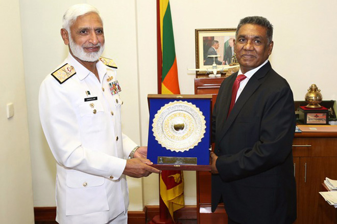 Pakistan's Chief of Naval Staff in Sri Lanka for official visit