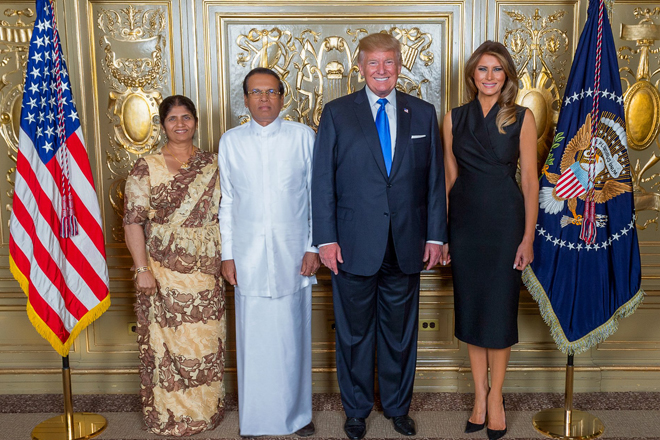 Sri Lanka President, First Lady meets US counterparts Trump and Melania