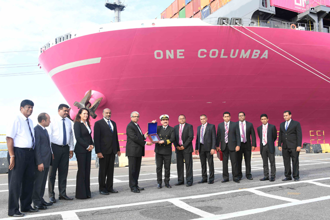 MV ONE Columba makes maiden call at Colombo Port