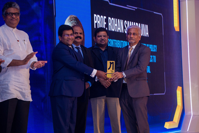 Prof. Rohan Samarajiva awarded SLT Zero-One lifetime achievement award