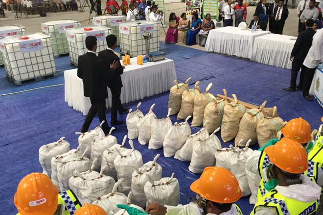 Sri Lanka Police Narcotics Bureau publicly destroys over 769 Kg of drugs