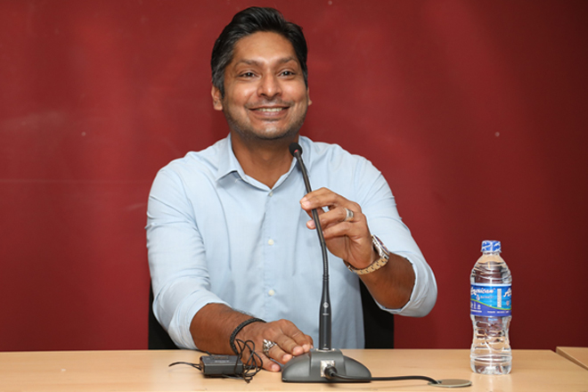 Cricketing star Kumar Sangakkara addresses the staff of BOI