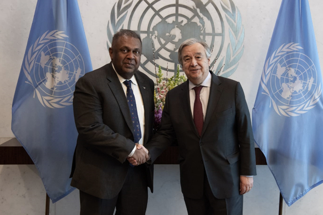 Finance Minister meets UN Secretary General Antonio Guterres in New York