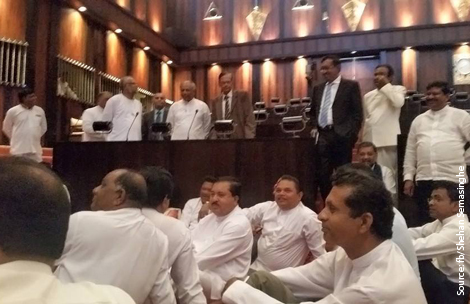 Sri Lanka's parliament adjourns following a tense situation