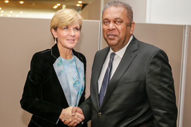 FM Mangala meets Australian and Japanese Foreign Ministers