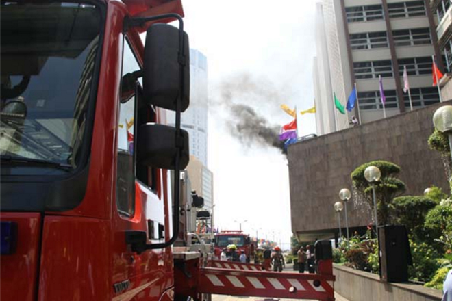 Annual fire suppression drill rehearsal at Central Bank on Thursday