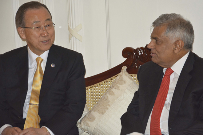 Ban Ki-moon calls on Prime Minister Ranil Wickremesinghe