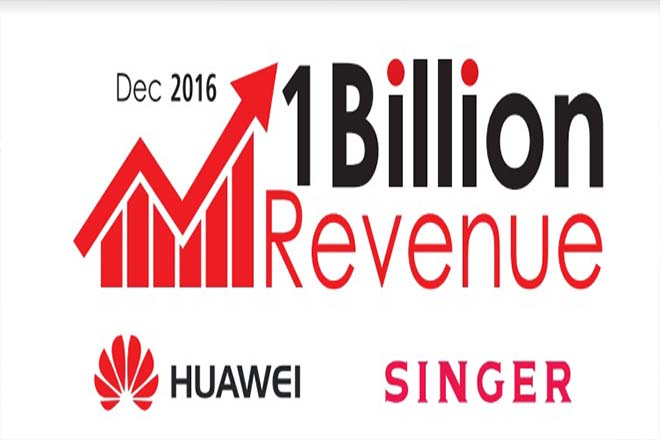Singer crosses Rs.1bn worth Huawei smartphone sales in December,  Records 77-pct sales growth in 2016