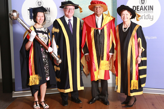 Prime Minister receives honorary doctorate from Deakin University Australia