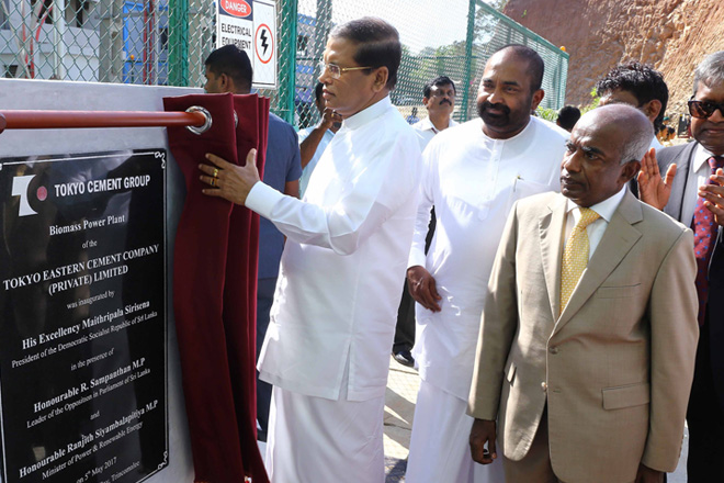 President inaugurated Tokyo Cement's 2nd biomass power plant in Trinco