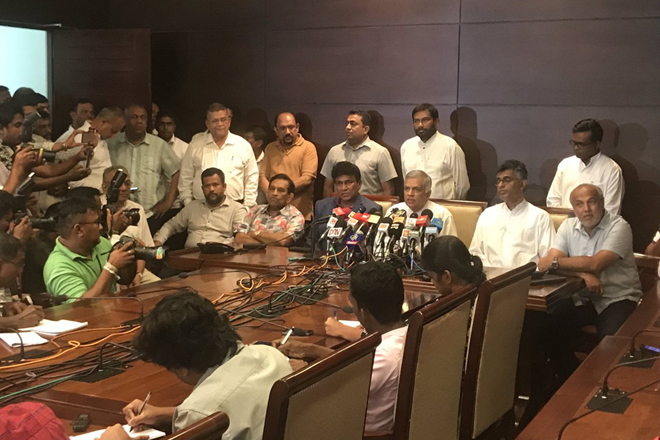 SLMC, UNF pledges support to UNP leader Ranil Wickremesinghe