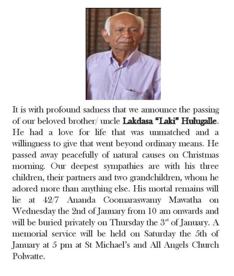 Tribute: Senior UN Economist Lakdasa Hulugalle (1932-2018)