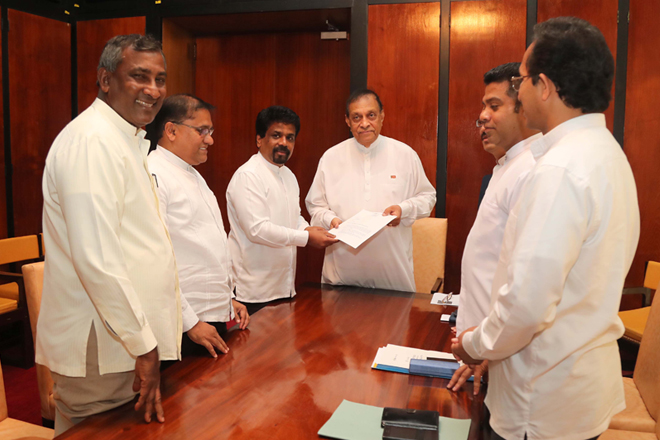 JVP hands over motion of no confidence against Sri Lanka government