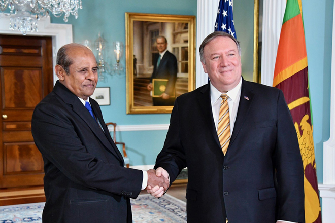 US Secretary of State Mike Pompeo meets Sri Lanka Foreign Minister