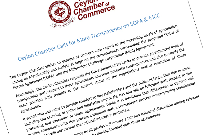 Ceylon Chamber calls for more transparency on SOFA & MCC