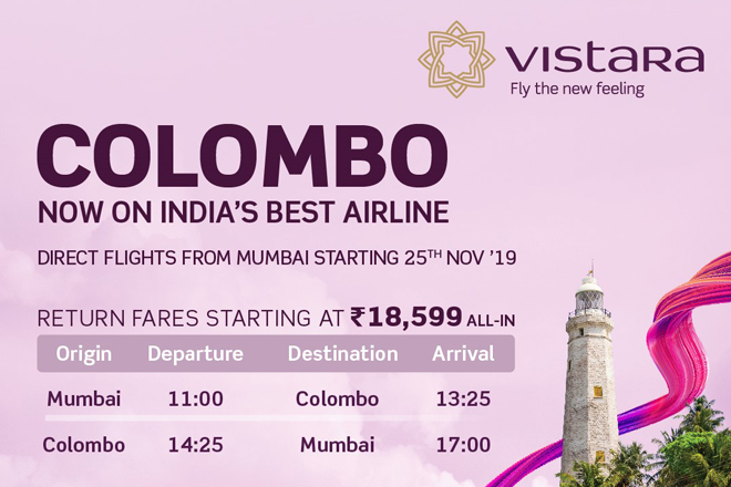 Vistara airline to launch direct flights between Mumbai & Colombo