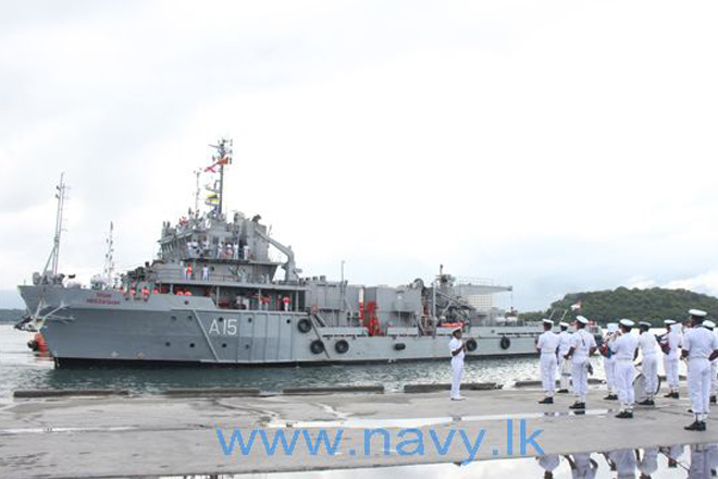Indian Naval Ship 'Nireekshak' arrives at Trincomalee harbour