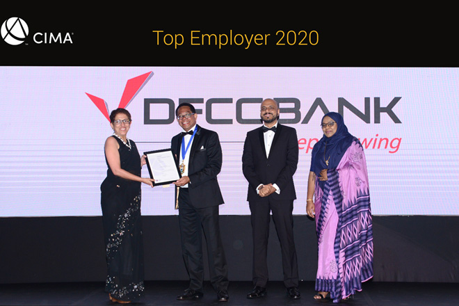 DFCC Bank wins Top Employer award at CIMA annual conference
