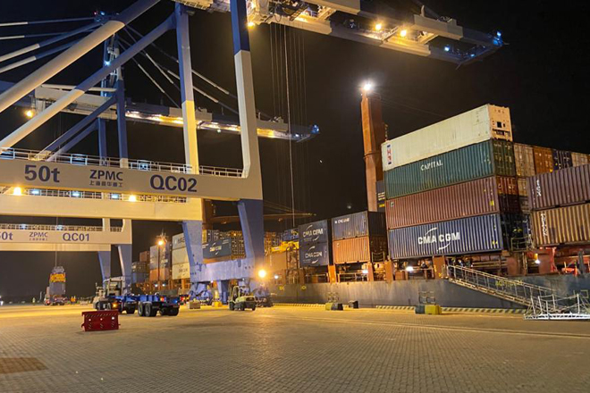 CMA CGM vessels do maiden relay transshipment at Hambantota International Port