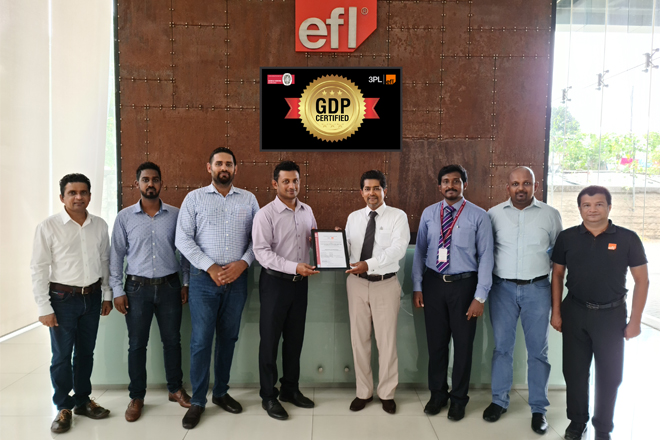 EFL 3PL becomes first GDP Certified 3PL Service Provider for its pharmaceutical supply chain