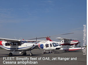Simplifly fleet in Sri Lanka GA8 Bell, Jet Ranger and Cessna 206